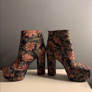 Floral platform ankle booties